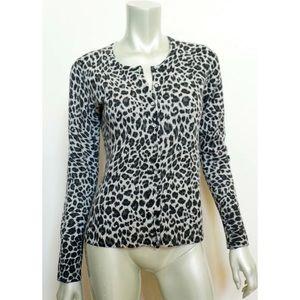 APT 9 100% Cashmere Leopard Animal Print Cardigan